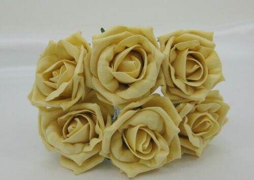Bunch 6 heads Artificial Foam Colourfast Roses Wedding Bouquets Buttonholes