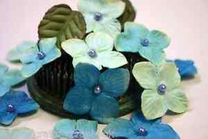 TEAL-18-HYDRANGEAS-Cotton-Flowers-25-35mm-amp-6-Leaves-25x30mm-Darjeeling-Petaloo