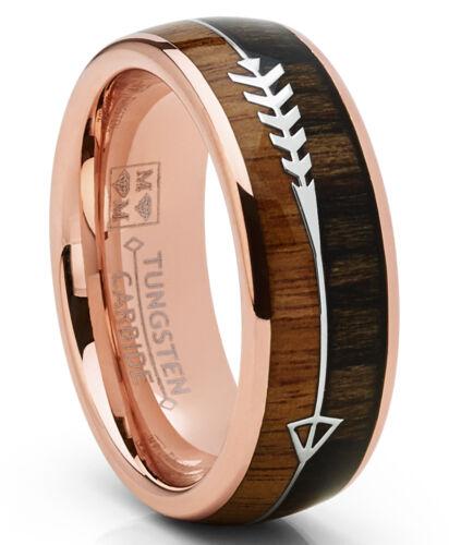 Tungsten Carbide Rose Goldtone Arrow Wedding Band Hunting Ring Wood