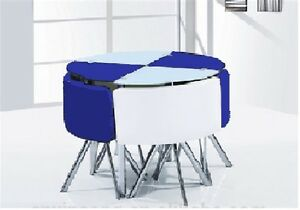 New Space Saver Dark Blue White Round Glass Dining Table
