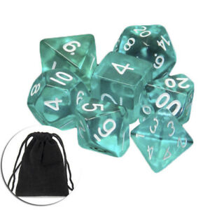 Lots-7-Piece-Polyhedral-Set-Cloud-Drop-Translucent-Teal-RPG-DnD-With-Dice-Bag