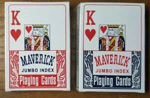 BRAND-NEW-Collictable-MAVERICK-Jumbo-Face-Playing-Cards-LOT-OF-2-Decks
