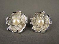 Silver Tone Faux Pearl Bead Flower Floral Stud Post Earrings Hibiscus Plumeria