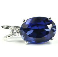 • Sp085, Huge 18x13mm, 15ct Created Blue Sapphire Sterling Silver Ladies Pendant