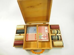 Antique-Poker-chip-and-Card-Set-Fruitwood-inlaid-Bakelite-Handle-case