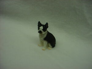 BOSTON TERRIER Dog HAND PAINTED FIGURINE Resin Statue COLLECTIBLE puppy NEW