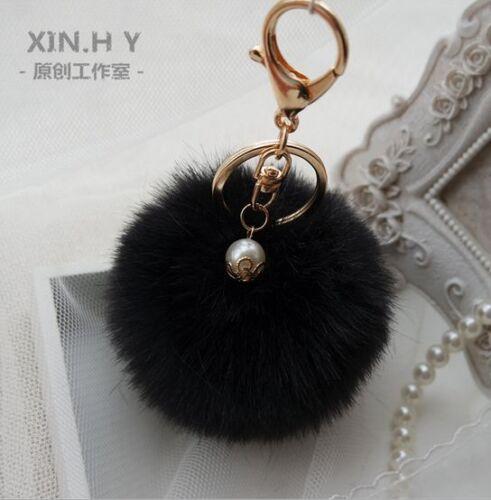 Rabbit Fur Ball PomPom Cell Phone Car Keychain Pendant Charm Handbag Key Ring