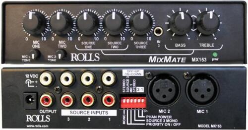 Rolls MX153 Mix Mate 1//2 Rack Mic Source Mixer
