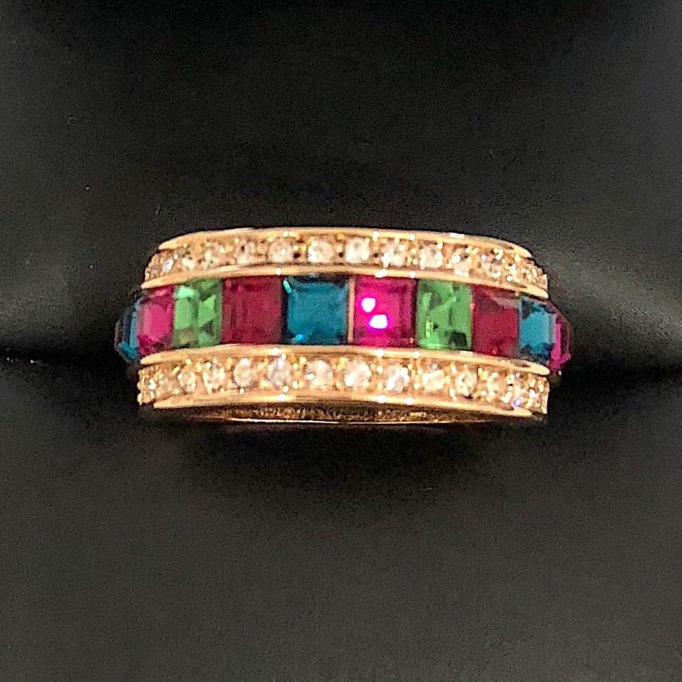 pink gold Plated Gemstone Lab Diamond Paved Ring Women Wedding Jewelry Size 6.5