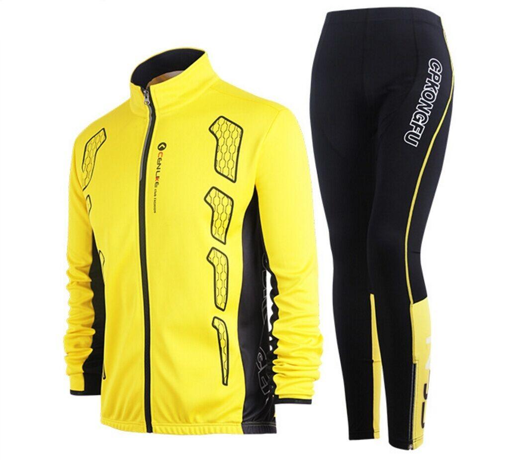 New Unisex Autumn Long Sleeve Cycling Clothing Jersey & Pants set Sports Coat
