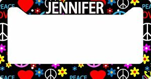 PERSONALIZED-LICENSE-PLATE-FRAME-CUSTOM-CAR-TAG-BLACK-HIPPIE-HIPSTER-PEACE-LOVE