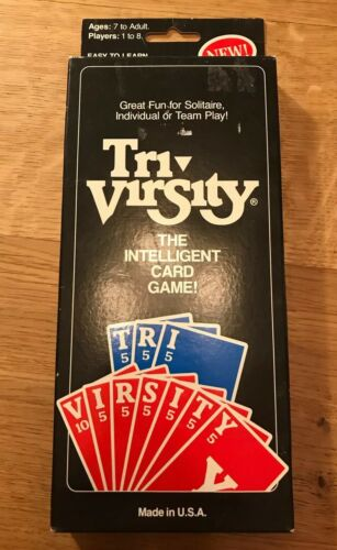 New In Box The Intelligent Card Game Word Puzzles Family Tri-Virsity