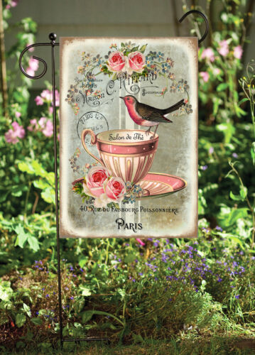 Birds in Pink Tea Cup Garden Flag Double Sided* Top Quality By Flags Galore
