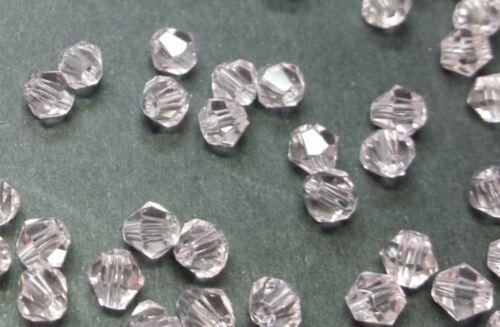 40 perles en verre à facettes toupies 4mm rose ////2