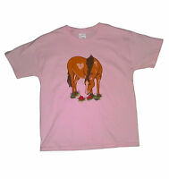 Pony T-shirt Girls Pink Size Sm-xlarge Horse Kid Animals Country Cute Nature