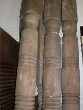 2 Antique Vtg Turned Wood Post Pillar Column Newel Porch Architectural Salvage