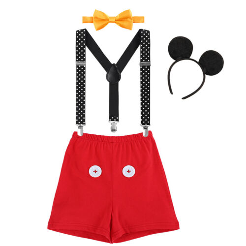 Baby Boy Birthday Cake Smash Outfit Mickey Mouse Ear Bow Tie Suspender Pants Set
