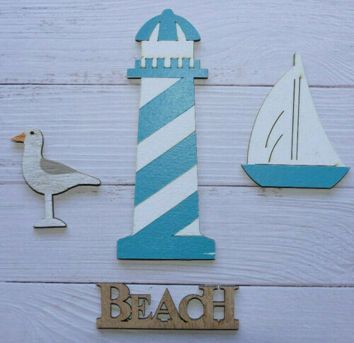 4 small wooden Nautical shapes Boat Seagull lighthouse beach sign decorations