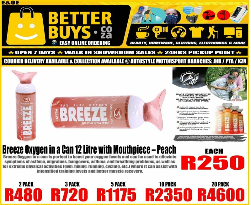 Breeze Oxygen in a Can 12 Litre with Mouthpiece