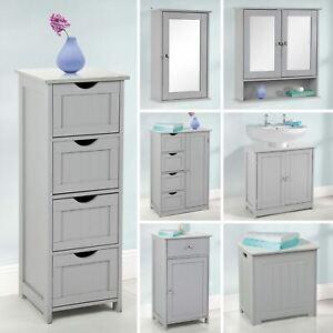 Grey-Wooden-Bathroom-Cabinet-Shelf-Cupboard-Bedroom-Storage-Unit-Free-Standing