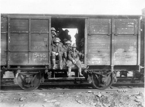 WW1 New Zealand Soldiers on Train Photo
