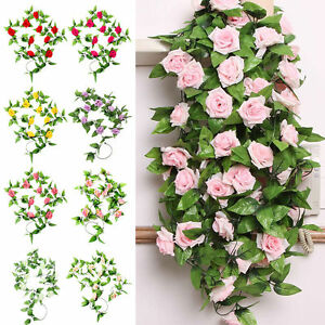2 x 8ft artificial rose garland silk flower vine ivy for Artificial flowers for home decoration india