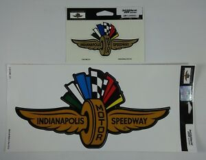 Indianapolis-Motor-Speedway-Gold-Wings-Wheel-Flags-Decal-Peel-amp-Stick-Indy-500