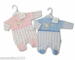 BNWT-Gorgeous-soft-velour-pink-or-blue-spotty-sleepsuit-3-6-months