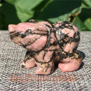1-5-034-Natural-rhodonite-jasper-bear-Carved-Quartz-crystal-skull-healing-1pc