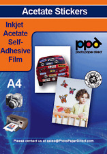 Printable A4 Inkjet Clear Acetate Film Self Adhesive X 20 Sheets