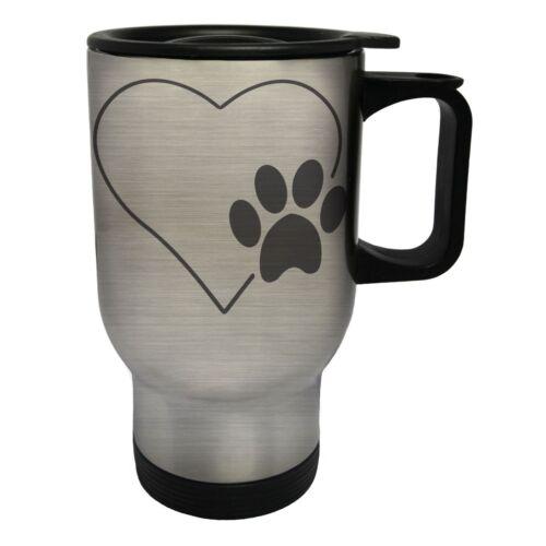 Paw Print and Heart White//Steel Travel 14oz Mug u883t