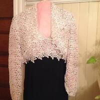 Rose Taft Black Silk Gown with Ivory Appliqué Bodice and Bolero Custom Fit
