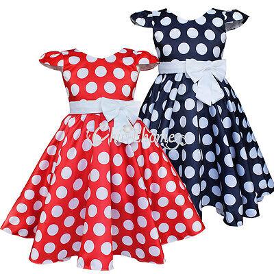GIRL Baby Kid Polka Dot Princess Party Wedding Dress Summer Clothes 2 3 4 5 6 7