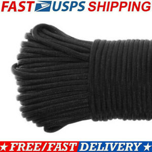 100FT-550-Parachute-Cord-Mil-Spec-Type-III-Paracord-7-Strands-Core-Lanyard-Black