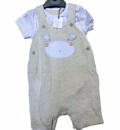 BABY BOYS KIDS EX MOTHERCARE 2 PIECE T-SHIRT AND DUNGAREE SET