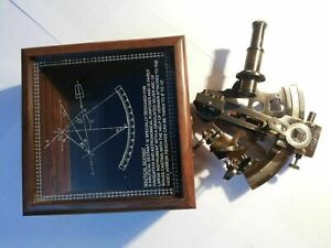 NAUTICAL-ANTIQUE-MARITIME-BRASS-SEXTANT-WITH-WOODEN-BOX-VINTAGE-COLLECTIBLE-4-039-039