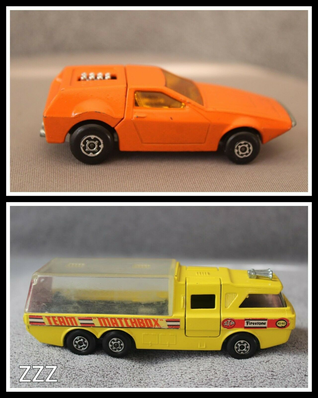 1972 Matchbox Team Super Kings K-7 Racing Car Transporter + Tanzara No 53