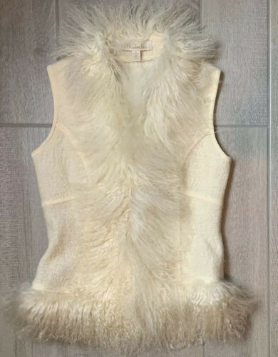 MainBocher Womens S Off White Wool Vest Jacket Sha