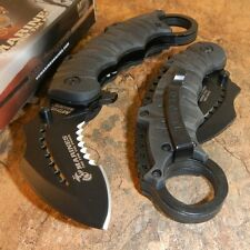 USMC OFFICIAL US MARINES Spring Assisted Open Black KARAMBIT Ring Finger Knife!!