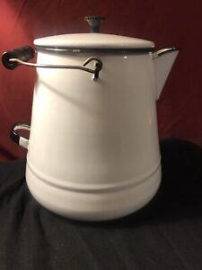 Vtg-U-S-STANDARD-White-Black-Enamel-Ware-Cowboy-Coffee-Pot-Kettle