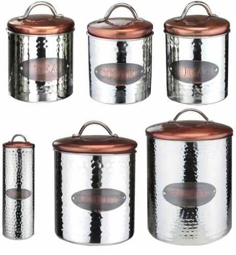 Copper Tea Coffee Sugar Jars Pasta Biscute Canisters Bread Bin Air Tight Lid New