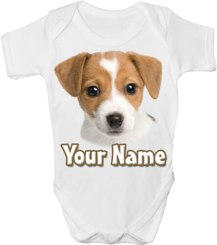 *GREAT NAMED GIFT* GRO //BODYSUIT JACK RUSSELL DOG PERSONALISED  BABY VEST