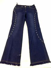 MASTINA WOMENS PURPLE TONE BLUE STRETCH DENIM FRAYED EMBELLISHED BOOTCUT JEANS 6