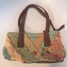 Fossil Patchwork Summer Floral Bag Hobo Boho Handbag Purse Medium - Nice!