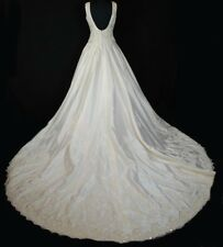 ORG $799 Vintage Ivory 10 Formal Wedding Gown Beaded Silk A-line Dress