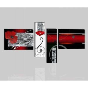 Quadri dipinti a mano su tela moderni astratti rosso e for Quadri moderni fiori dipinti a mano