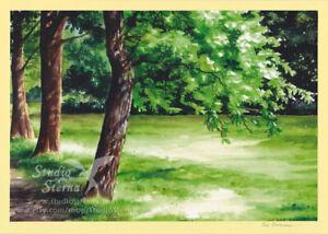 Kunst-Foto-Druck-Gemaelde-Druck-A4-Park-Baeume-Bremen-Oberneuland-Aquarell-gelb