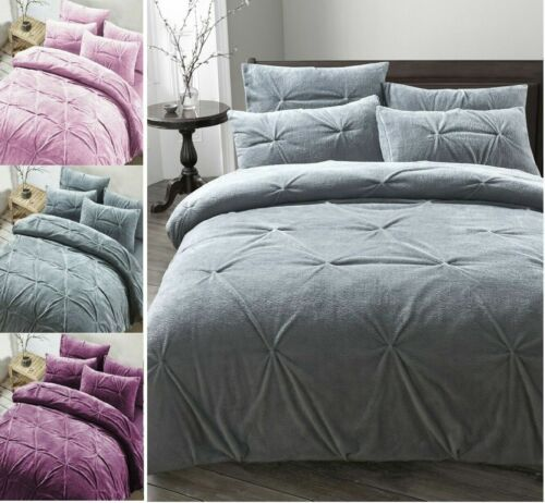 MADISON Pinch Pleat PINTUCK Teddy Bear Fleece Sherpa  Duvet Cover Bedding Set