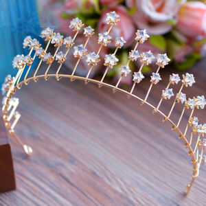 Princess-Pageant-Wedding-Bridal-Star-Crystal-Headband-Golden-Crown-Tiara-Jewelry