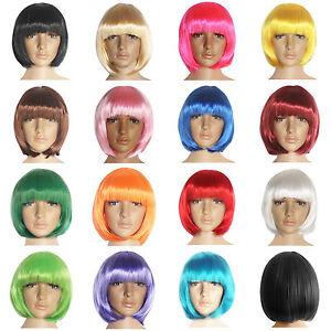 Mujer-Bob-Corto-Recto-FIESTA-15-Colores-Vestido-cosplay-disfraz-pelucas